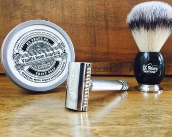 Handsome Father's Day Gift. For Dad. Husband Gift. Boyfriend. Unique Groomsmen Gifts. Safety Razor Kit. Shaving Set. Groomsmen Gifts.