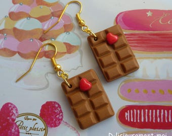 Earrings chocolate gold-tone metal and polymer clay red heart