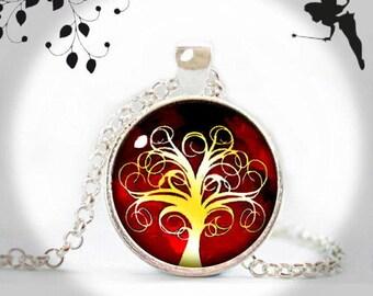 Cabochon necklace long chain KOCKENBAUN red yellow KJR-025-041