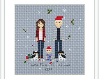 Custom Cross Stitch Family PDF Personalized family portrait Christmas gift Cotton Anniversary Gift  Family portrait Cross Stitch