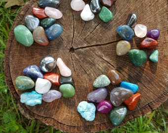FLASH SALE! Gift sets- gift for her // chakra set // tumbled stone set // tumbled stone lot // chakra stones // chakra therapy colors //
