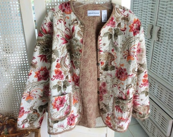 Women's Cotton Quilted Jacket, Jacobean Pattern Fabric, Size 14, Never Worn, Mint!