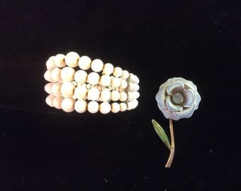 Vintage Jewelry Lot, 2 Pieces, Milk Glass Bead Bracelet and Enamel and Rhinestone Pin