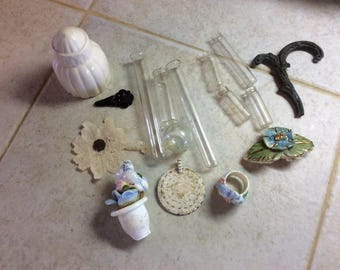 Antique and Vintage Salvage Detash Lot, Metal, Ceramic, Glass, Lace and More
