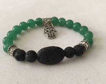 Green Aventurine and Lava Stone Diffuser Bracelet