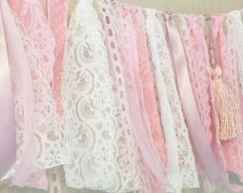 Pretty pink garland. Vintage style  Lace and ribbon garland  wedding, nursery or bedroom decoration