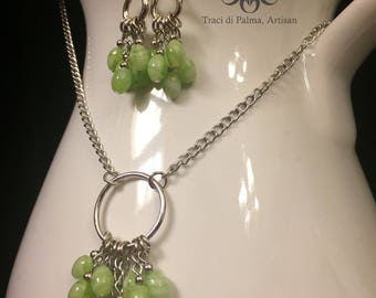 Swirled Green Glass Necklace and Earring Set