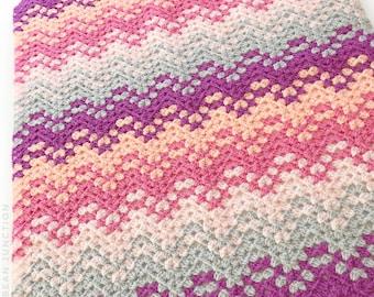 Pink Confetti Waves Crochet Blanket