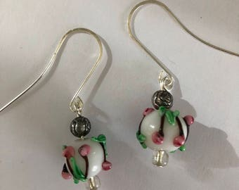 Glass cherry earrings