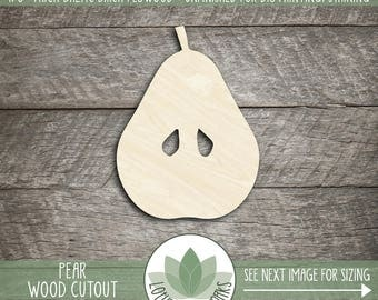 Laser Cut Wood Pear Shape, DIY Craft Supply, Many Size Options, Wood Pear, Laser Cut Shapes