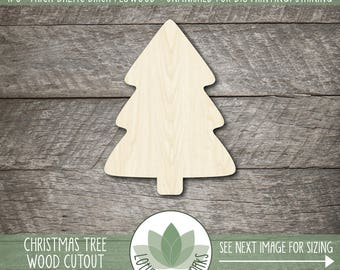 Wood Christmas Tree Cut Out, Laser Cut Pine Tree Shape, Christmas Craft Supply, DIY Christmas, Many Size Options, Christmas Tree Shape