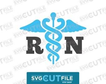 RN svg caduceus nurse, nursing shirt lpn cna, medic paramedic emt, registered caducous png, medical er trauma dxf, week appreciation day