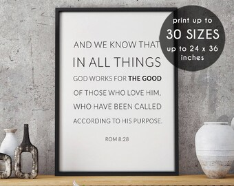 Romans 8:28, God works for the good, christian home decor, encouragement, wall bible art decor, quote, digital, calligraphy wall art, 43