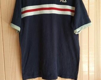 Vintage Fila t shirt three tones stripes Fila Italia Shirt Unisex Size Medium Fila Shirt Swag Hip Hop Fila Biella Italia