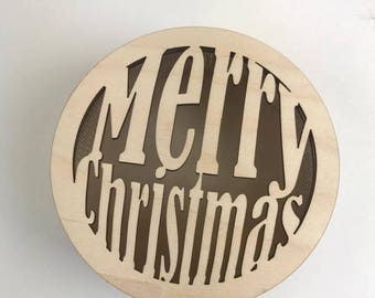Christmas Wood Box, Round wooden box, Christmas Gift Wrap, Holiday Box,  Custom Wood Box, Custom Gift Box, Personalized Box, Ready to ship