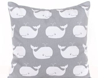 SALE ENDS SOON Gray Whale Pillow, Whale Tales Pillow Cover, Gray Nursery Decor, Modern Baby, Kids Room Decor, Boys Room Decor, White and Gra