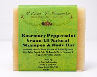 Rosemary Peppermint Shampoo and Body Bar (Vegan, All Natural)