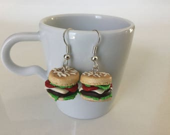 Hamburgers handmade fimo earrings