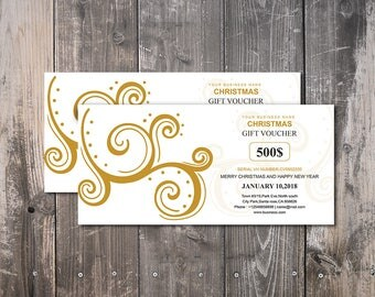 Christmas, Holiday Gift Voucher Card Template | Multipurpose Gift Voucher Card Template | Photoshop & Elements Template | Instant download