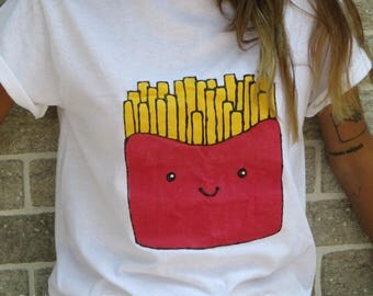 French fries tee shirt hand painted