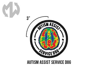 "AUTISM ASSIST Service Dog 3"" round Service Dog Patch"
