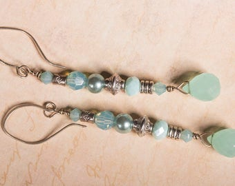 Blue tear drop chalcedony with Swarovski crystal beads, and silver tribal beads on sterling silver wire