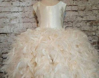 SALE..limited time only Custom flower girl dress,Ivory flower girl dress,ivory feather, cream flower girl dress,rustic flower girl dress,cus