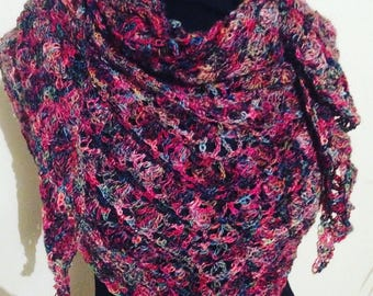 scarf/shawl or scarf in thread of high quality Louisa Harding, enveloping soft and beautiful stitch