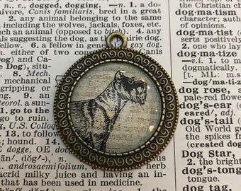 Handmade Vintage Dictionary Dog Necklace - Schnauzer