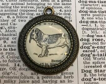 Handmade Vintage Dictionary Dog Necklace - Basset Hound