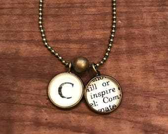 Handmade Dictionary Word Necklaces with Initial Charm