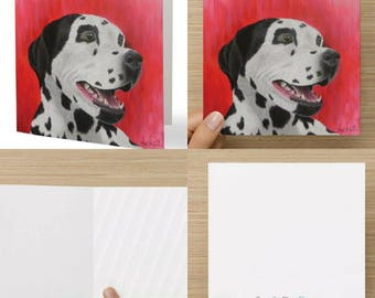 Stationery, Illustration, Greeting Card, Dog, Dalmatian, Wish Card, Painting, Celebration, Party, Birthday, Anniversary, Item # C005-Blaky