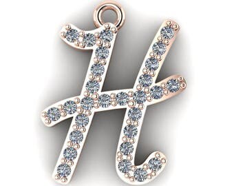 """Initial """"H"""" Pendant with 16-inch Length Cable Chain"""