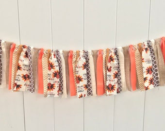 Fall banner, thanksgiving banner, fabric banner, scrappy banner, fall decor, thanksgiving decor, fall fabric banner,