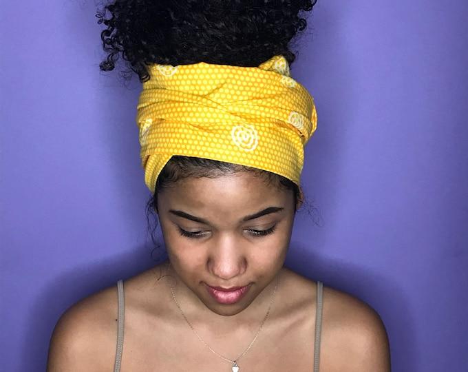 Yellow Kuchena Half Head Wrap