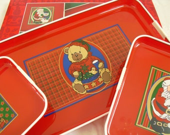 Three Vintage Lacquer Nesting TV Trays, Celebrate the Season, Plastic Handled Rectangle Holiday Serving Trays, Red Christmas Decorative Tray