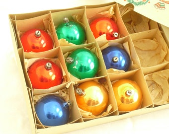 Vintage Assortment of Round Glass Tree Ornaments, Old Christmas Tree Glass Bulbs, 9 Pc Collection, Vintage Christmas Decor, Made in Poland
