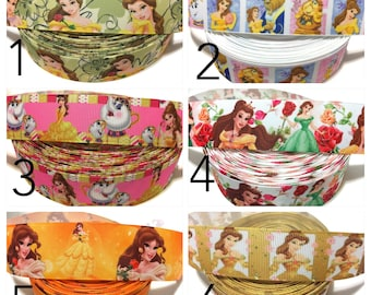 Beauty and the Beast Ribbon, Beauty and Beast Grosgrain Ribbon, Princess Belle Ribbon, Be our Guest Ribbon