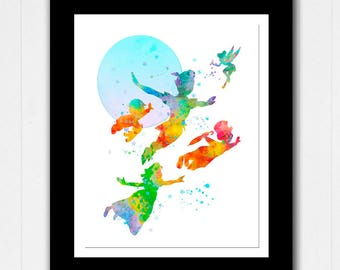 Peter Pan Children and Tinkerbell flying watercolour - Buy 2 Get 1 FREE