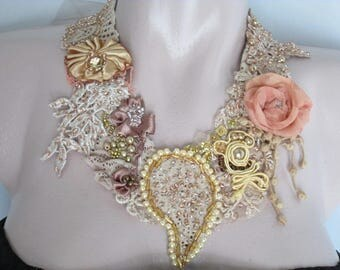 Necklace jewelry beadwork, Romantic jewelry, ,Bohemian art to wear,Shabby chic necklace,Baroque,Unique necklace,Wedding necklace,Romantic