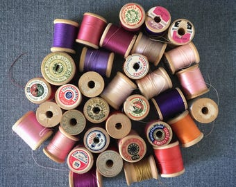 STUDIO SALE 35 vintage wooden spools of thread destash A