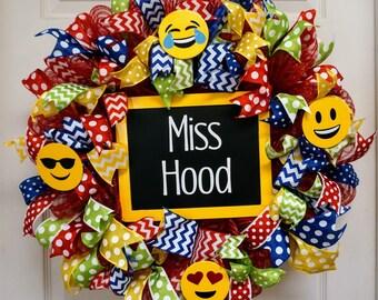 Emoji Wreath, Classroom Wreath, School Wreath, Teacher Wreath, Teacher Gift, Classroom Decor, Classroom Door Hanger, School Door Hanger