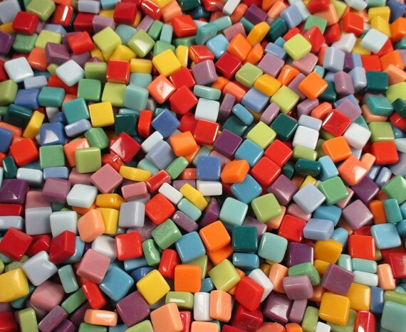 Opaque glass mosaic tiles mixed colors 1 2 pound 12mm for Craft mosaic tiles bulk