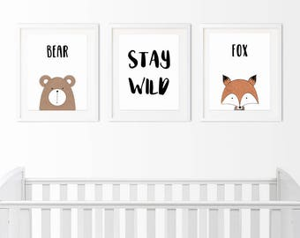 Stay Wild Bundle, 3 Wall Decor Printables 5x7 inches, Nursery Decoration, Wall decoration, Home decor, Printable digital art, baby room
