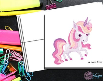 Pink unicorn Note cards / Custom girl purple pink unicorn Stationery / Girl Stationery Set / Girl Thank You Cards / Set of 12 Kid Notes