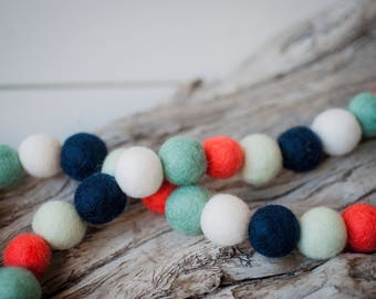 Navy Coral Mint, 2cm 50ct Felt Ball Garland or Loose Pack - Pom Pom - FREE SHIPPING USA | Bunting