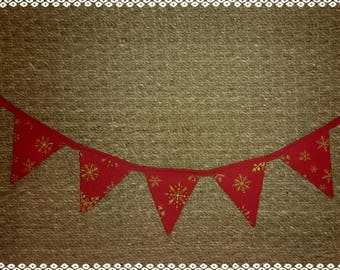 Christmas wreath, red and gold fabric