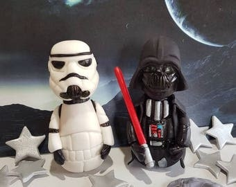 Star wars Stormtrooper and Darth Vader Cake Topper birthday decoration set with Silver Stars and meteors