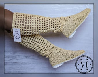 Boots are female Boots are summer knitted Footwear to order Summer footwear Women's boots Knitted boots Handmade to Order Shoes Summer Shoes