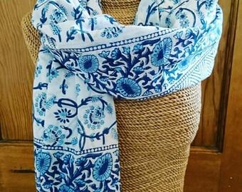 Block print scarf/sarong, 100% cotton, Blockprint, scarf, sarong, gifts for her